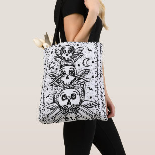 GOTHIC SEE NO EVIL, CEMETERY SKELETON TOTE BAG