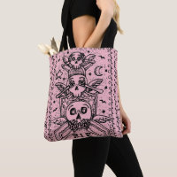 GOTHIC SEE NO EVIL CEMETERY SKELETON TOTE BAG pink