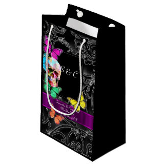 Gothic skull and black personalized wedding small gift bag
