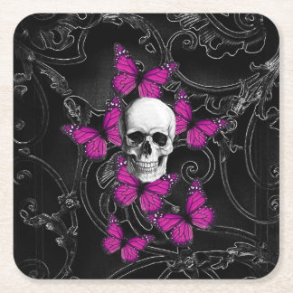 Gothic skull and butterflies square paper coaster