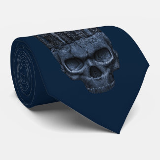 Gothic Skull City Blue Tie