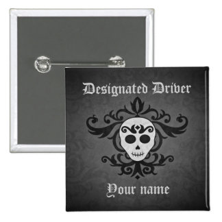 Gothic skull Halloween day of the dead damask 2 Inch Square Button