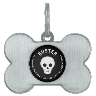 Gothic skull Halloween Pet Name Tag