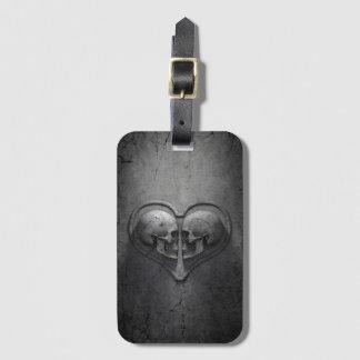 Gothic Skull Heart Luggage Tag