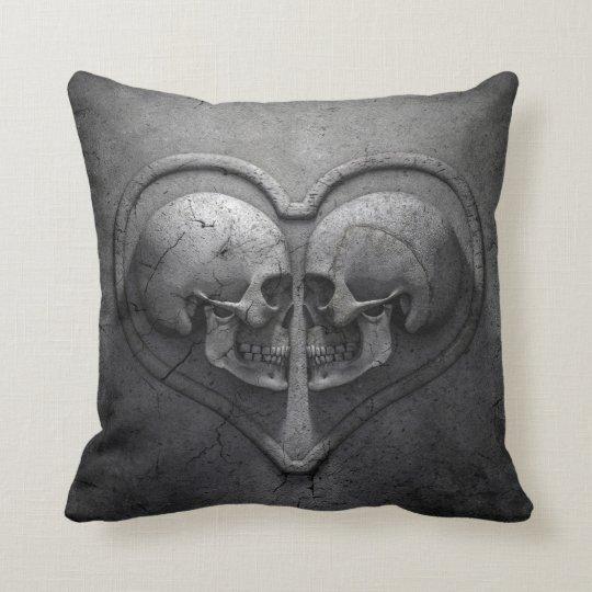 Gothic Skull Heart Throw Pillow