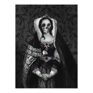 "Gothic Skull Lady 6.5"" X 8.75"" Invitation Card"