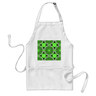 Gothic skull mandala neon green apron