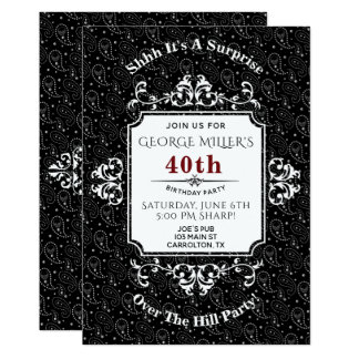 Gothic Skull Paisley Over The Hill Party Invite