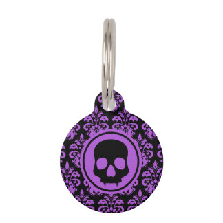 Gothic skull personalized pet ID tag