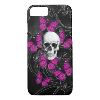 Gothic skull & purple butterflies iPhone 7 case