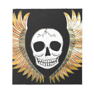 Gothic Skull & Wings Notepad