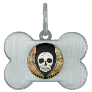 Gothic Skull & Wings Pet Name Tags