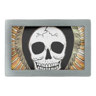 Gothic Skull & Wings Rectangular Belt Buckle