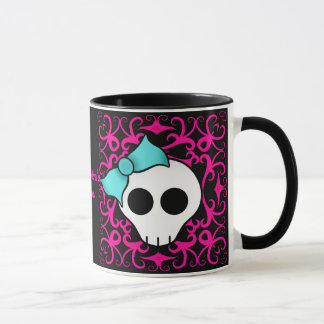 Gothic skull with blue blow on black and fuschia mug