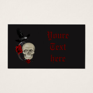 Gothic Skull With Rose and Raven Business Card