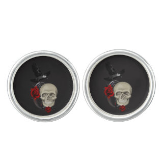 Gothic Skull With Rose and Raven Cuff Links
