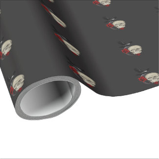 Gothic Skull With Rose and Raven Wrapping Paper