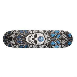 Gothic Skulls - Blue Skate Board