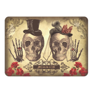 "Gothic Skulls Day of The Dead Save the Date Cards 4.5"" X 6.25"" Invitation Card"
