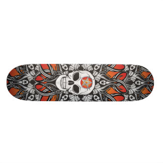 Gothic Skulls - Orange Skate Decks