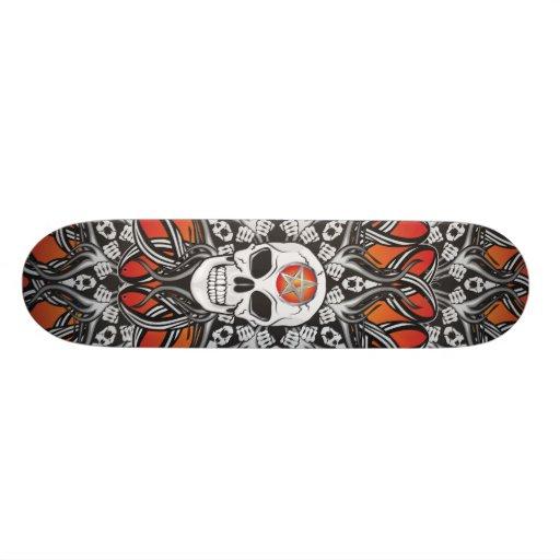 Gothic Skulls - Orange Skate Board