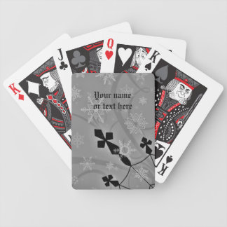 Gothic snowflakes and crosses winter scene bicycle playing cards