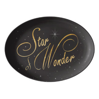 Gothic Star of Wonder Black Ebony Look Porcelain Serving Platter