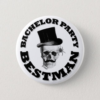 Gothic steampunk skull bachelor party 2 inch round button