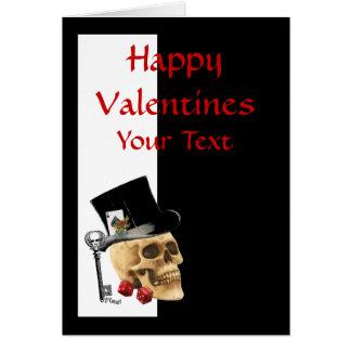 Gothic steampunk skull  gambler valentines day card