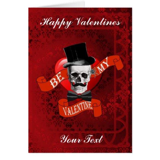 Gothic steampunk skull  valentines day card
