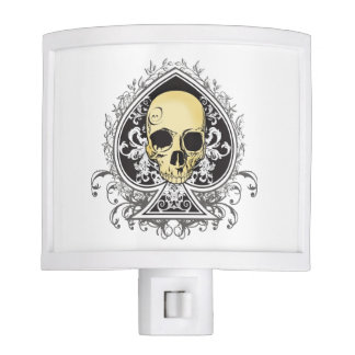 Gothic style black ace of spades with skull, night lite