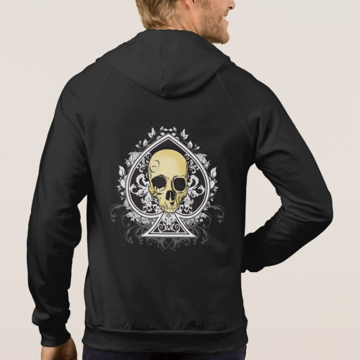 Gothic style black ace of spades with skull, sweatshirts