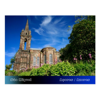 Gothic style chapel in Azores Postcard