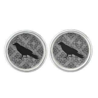 Gothic style raven cuff links