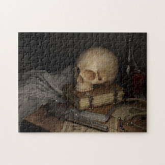 Gothic Style Still Life with Skull Jigsaw Puzzle