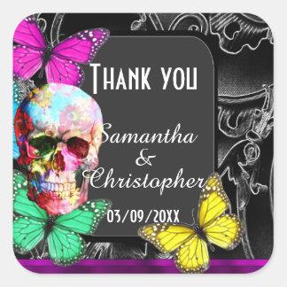 Gothic sugar skull black wedding  thank you square sticker