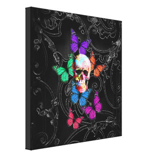 Gothic sugar skull butterflies canvas prints