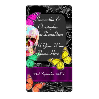 Gothic sugar skull wedding wine bottle shipping label
