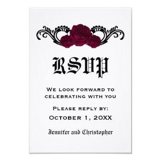 "Gothic Swirl Roses Response Card, Fuchsia 3.5"" X 5"" Invitation Card"