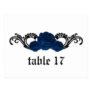 Gothic Swirl Roses Table Number Postcard, Blue Postcard