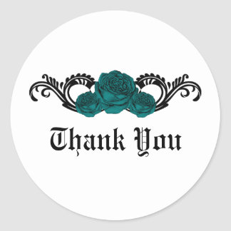 Gothic Swirl Roses Thank You Stickers, Teal