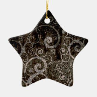 Gothic Swirls Ceramic Star Ornament