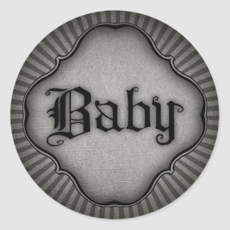 Gothic Text Baby Round Sticker