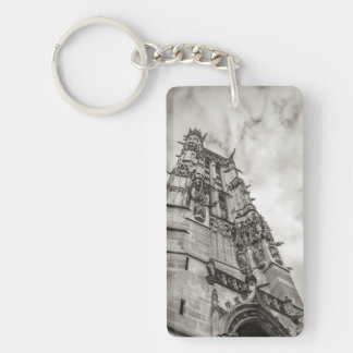 Gothic tower against the sky keychain