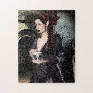 Gothic Vampire and Mausoleum Jigsaw Puzzle