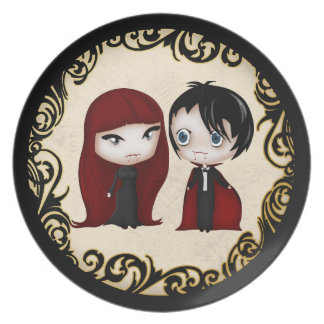 Gothic Vampire Boy and Girl in Chibi Style Plate