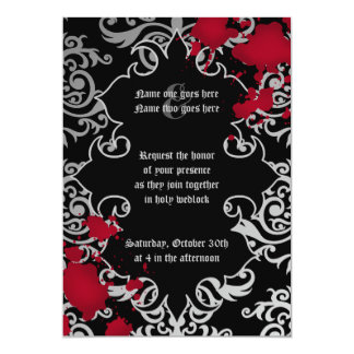 "Gothic vampire Halloween wedding personalized 5"" X 7"" Invitation Card"