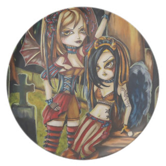Gothic Vampire Sisters Fantasy Surreal Art Plate