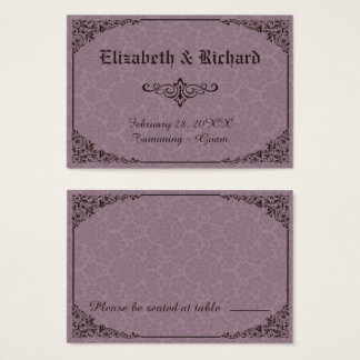 Gothic Victorian Damask Wedding Place Cards