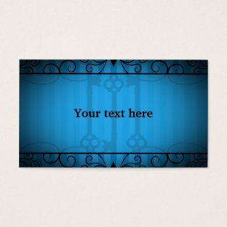 Gothic victorian old keys on blue stripes business card